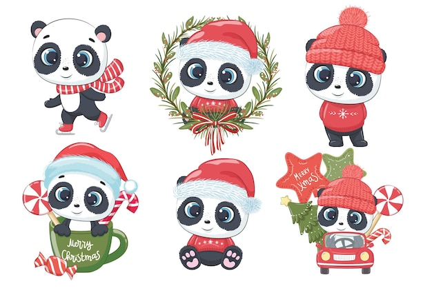 A collection of 6 cute pandas for new year and christmas. vector illustration of a cartoon. merry christmas.
