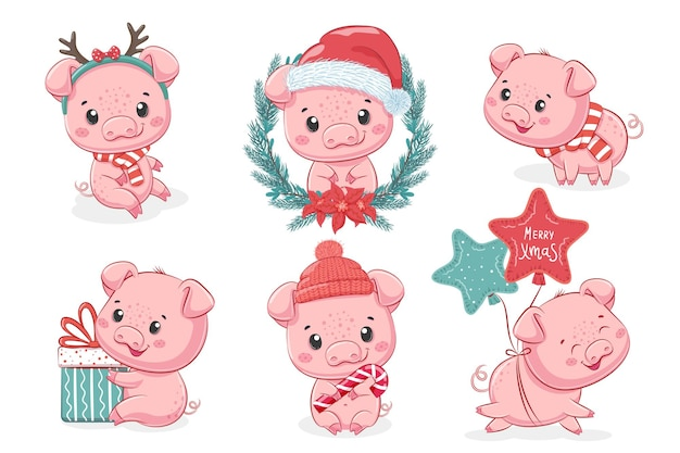 A collection of 6 cute piglets for the new year and christmas. vector cartoon illustration.