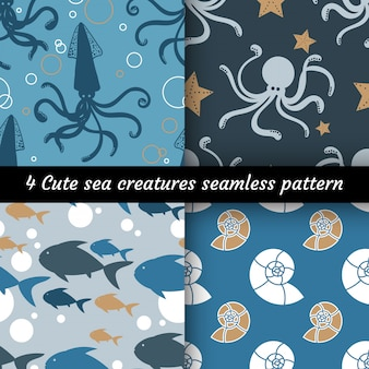 Collection of 6 cute sea creatures seamless pattern.