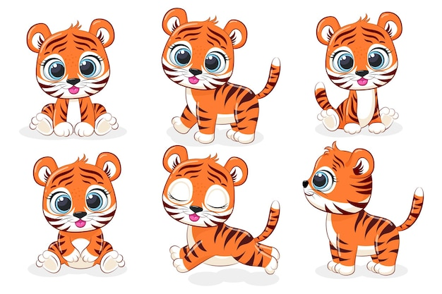 A collection of 6 cute tiger cubs. vector cartoon graphics.