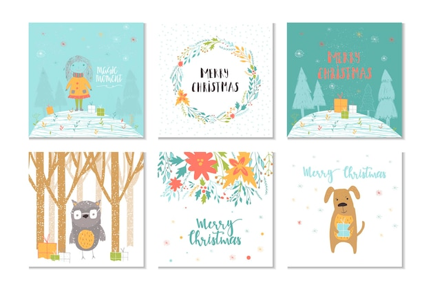 Collection of 6 merry christmas cute greeting card with animals presents and lettering
