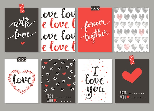 Collection of 8 cards of love design. valentine's day  set.