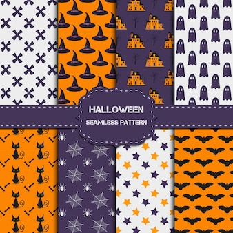 Collection of 8 halloween patterns with endless texture. vector background can be used for wallpaper, fills, web page,surface, scrapbook,  holiday card, invitation and party design.