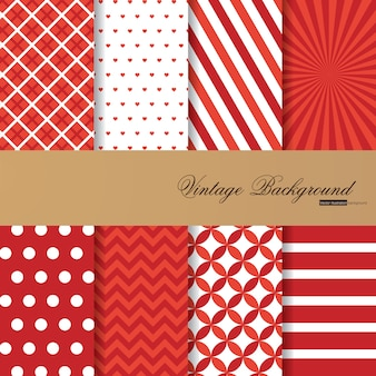 Collection of 8 red color backgrounds in vintage style