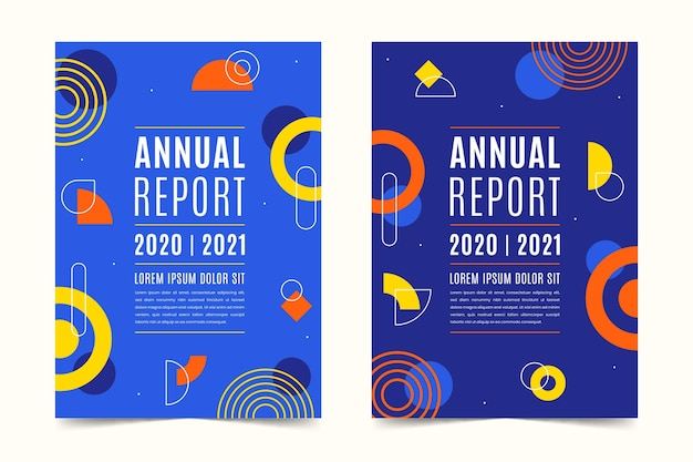 Collection of abstract annual report templates