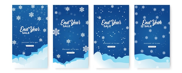 Collection of abstract background designs, winter sale, christmas, end year sale, new year banner, social media promotional content. vector illustration