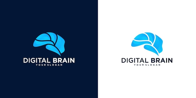 Collection of abstract brain logo