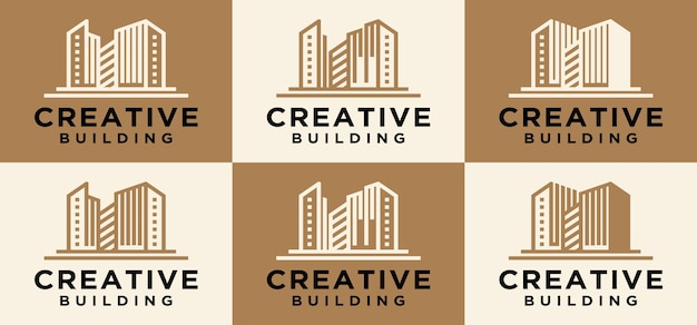 Collection of abstract buildings modern building logo sophisticated design modern building construct