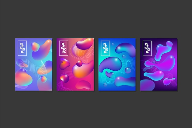 Collection of abstract colorful covers in fluid style