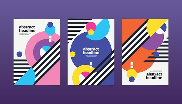 Collection of abstract covers with geometrical shapes