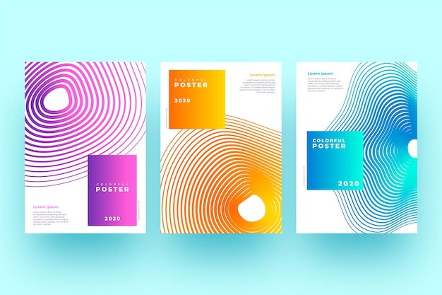 Collection of abstract covers with wavy shapes