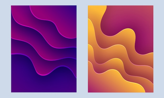 Collection of abstract design with liquid flow or fluid background