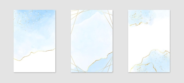 Collection of abstract dusty blue liquid watercolor background with golden stains and frame