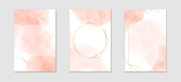 Collection of abstract dusty pink liquid watercolor background with golden lines and frame