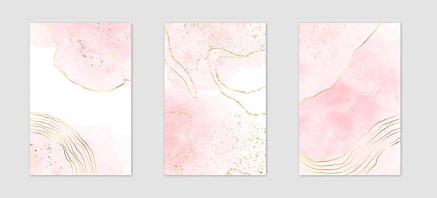 Collection of abstract dusty pink liquid watercolor background with golden lines and polygonal frame