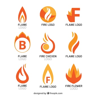 Collection of abstract flame logos