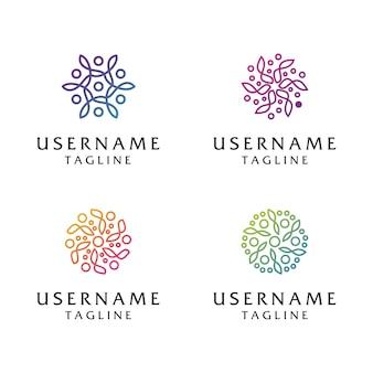 コレクション抽象花ロゴ、美容、ファッション、サロン、スパ、ヨガのロゴのテンプレートに使用できます