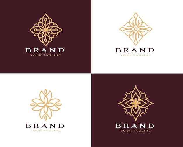 Collection of abstract flower swirl logo icon vector design elegant premium ornament vector logotyp