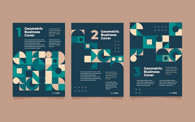 Collection of abstract geometric business covers