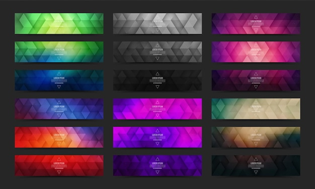 Collection of abstract geometric vivid colored web banners