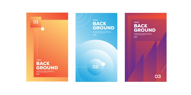 Collection of abstract gradient banner set for social media template