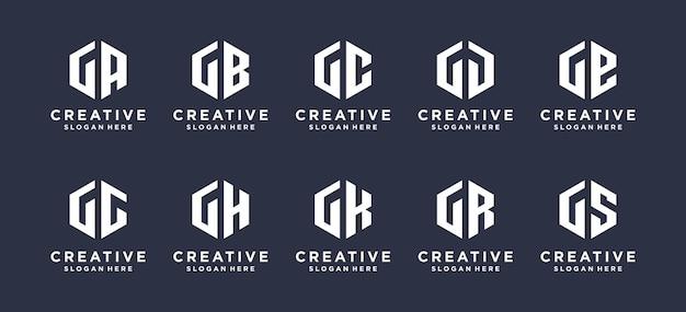 Collection abstract hexagon letter g combination logo design.