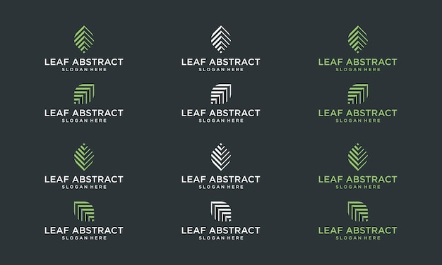 Collection of abstract leaf shapes. premium vectors.