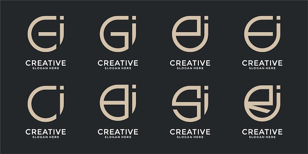 Collection of abstract letter logo designs template