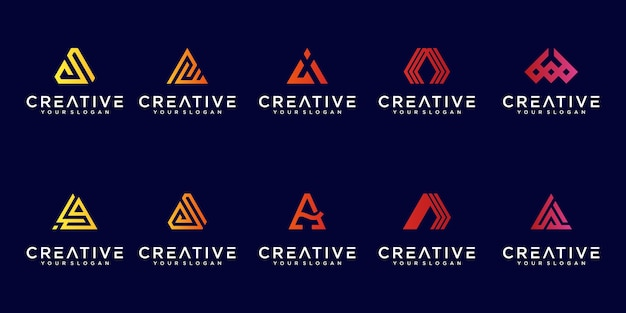 Collection of abstract letter a logo gradient