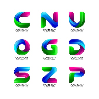 Collection of abstract letter logo