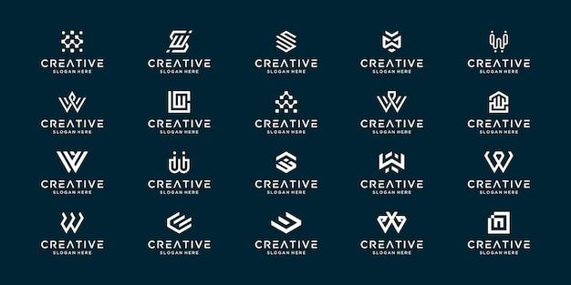 モノグラムロゴのコレクション抽象文字w