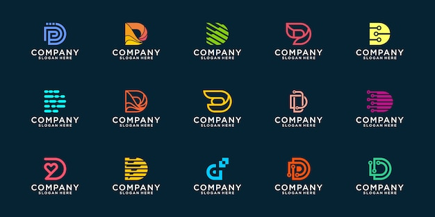 Collection of abstract logo designs. flat minimalist modern for business