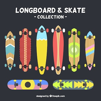 Collection abstract longboard