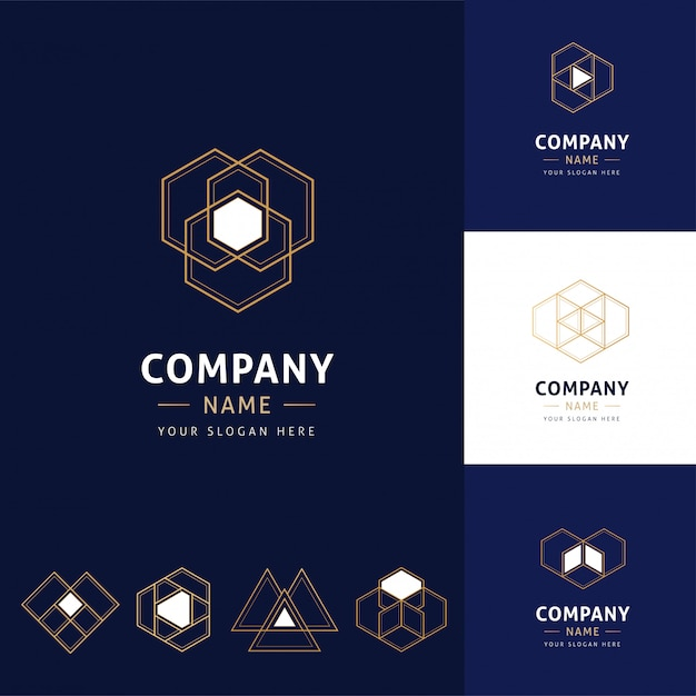 Collection of abstract and modern logos of golden color with geometric shapes