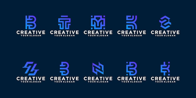 Collection of abstract monogram logo template. flat minimalist modern for business