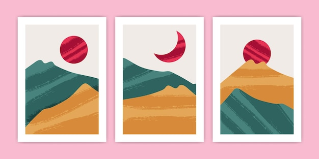 Collection of abstract mountain landscape poster illustration
