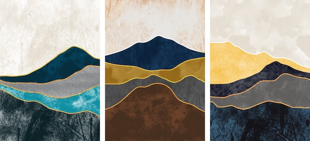 Collection of abstract mountain landscape