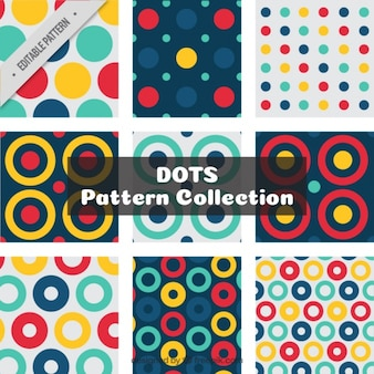 Collection of abstract polka dot patterns