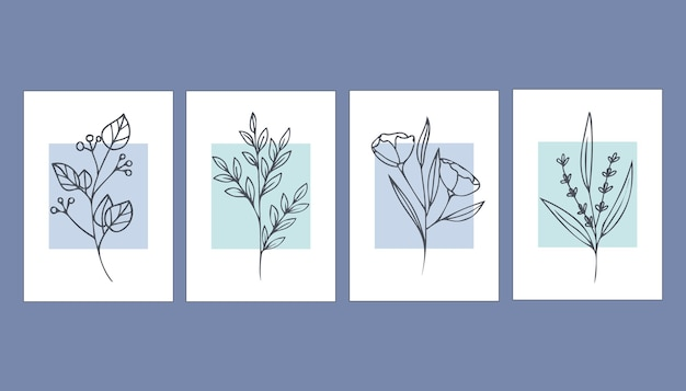 Collection of abstract posters with plants. contemporary art.