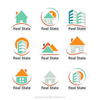 Collection of abstract real estate logos
