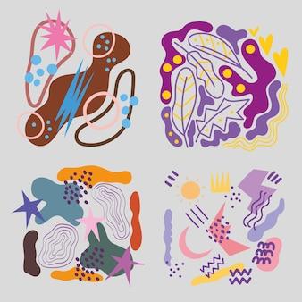 Коллекция абстрактных элементов s, чернильные пятна и текстуры гранж