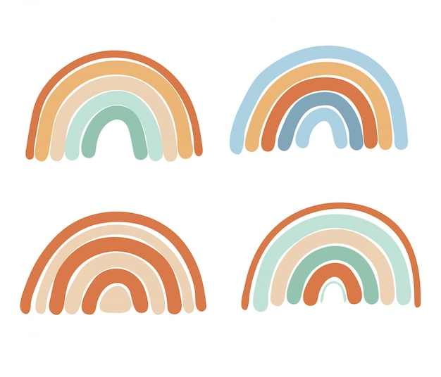 Collection of abstract simple rainbows in mint, blue and brown colors, isolated elements