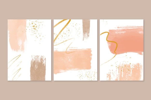 Collection of abstract watercolor shapes covers