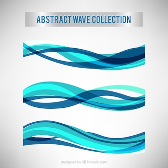 Collection of abstract waves in blue tones