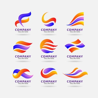 Collection of abstract wavy logo