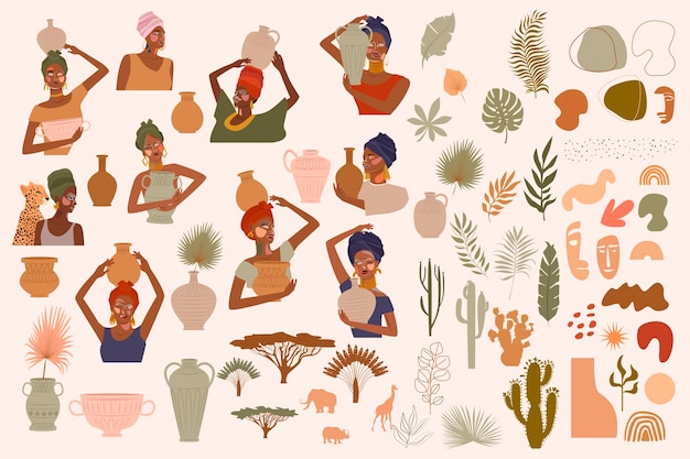 Collection of abstract women portraits, ceramic vase, jugs, bowls, tropical plants, palm leaf, cactus, animal silhouette, abstract hand draw shapes.