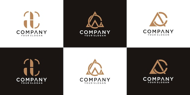 Collection of ac letter logos with line styles and golden color for consulting, initials, financial companies