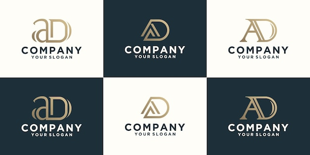 Collection of ad letter logos with line styles and golden color