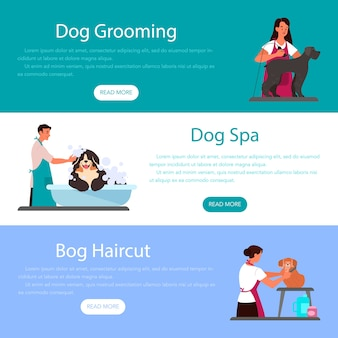 Collection of ad web banner or header of professional dog grooming