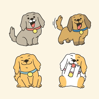 Collection of adorable lovely puppies mascot doodle third set